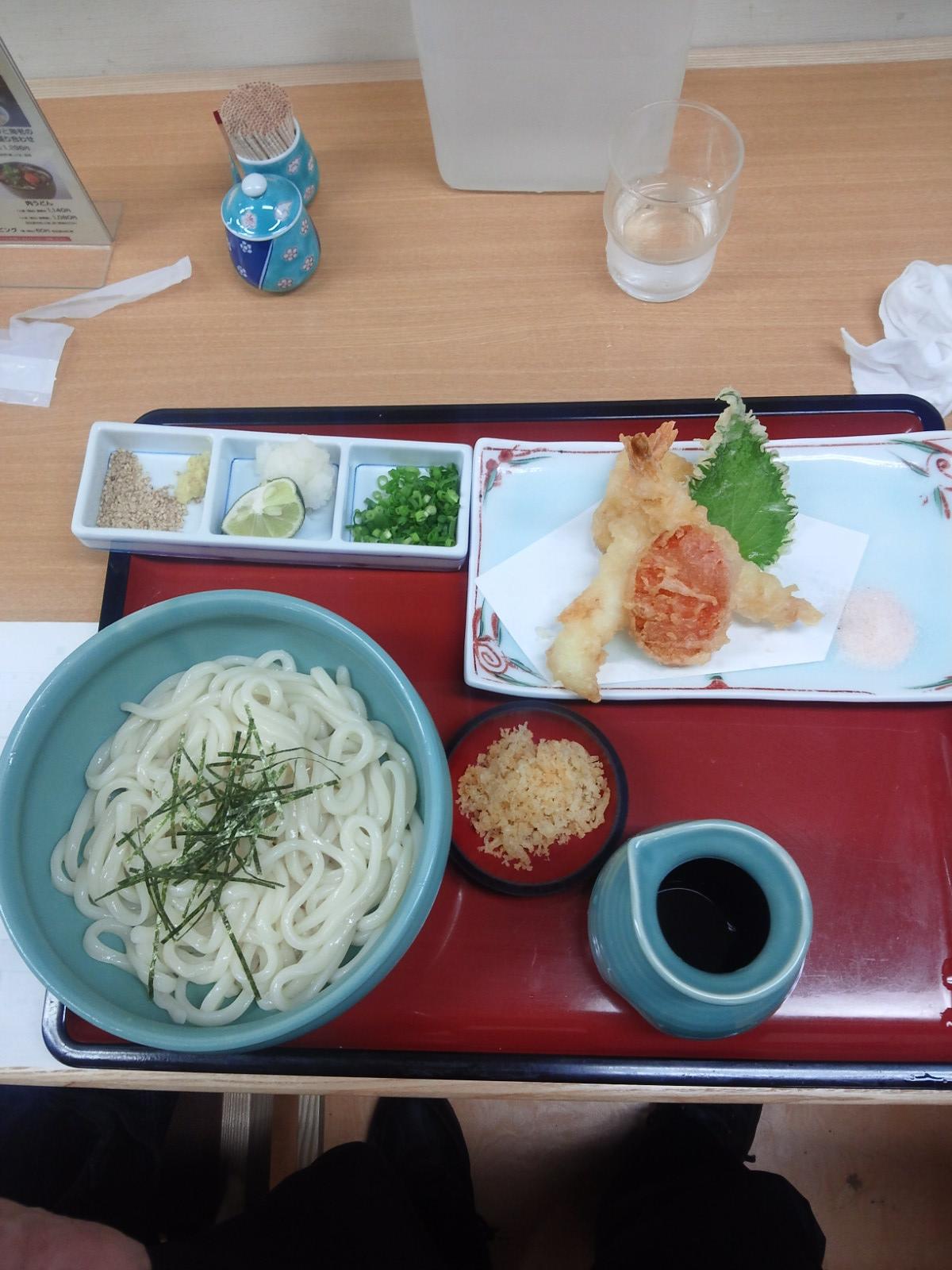 ざるぶっかけと海老の天ぷら盛り合わせ